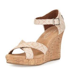 TOMS Woven Diamond Strappy Wedge Sandal, Natural